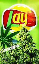 "3.25"" Funny Marijuana Sticker. LAYS CANNABIS, for your weed Bong or Pot Pipe"