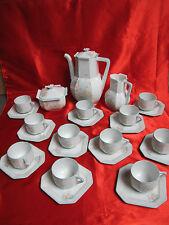Service à café porcelaine LIMOGES forme carré tendance décor floral