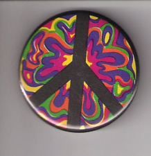"""PSYCHEDELIC PEACE SIGN, PINBACK BUTTON 2 1/4"""" NEW"""