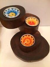 Three Tier Teak Wood Root Tea Light Candle Holder With Flower Tea Lights
