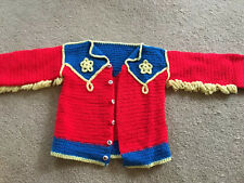 VINTAGE HAND KNIT Cowboy Pattern Toddler Baby Sweater