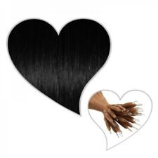 25 EXTENSIONES DE ANILLO Nano 45 cm negro #01 Hebra de cabello humano, mejor que