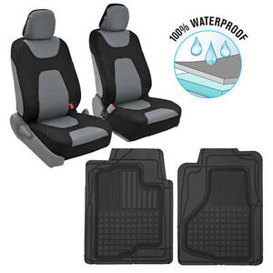 100% Waterproof Polyester Neoprene Front Car Seat Covers+ Rubber Car Floor Mats