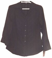 Elementz Woman/'s Sweater Jet Black Cardigan Short Sleeves 100/% Cotton 1X $48
