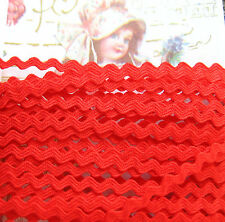 "5 yd~1/4"" Vintage True Red  Cotton Baby Ric Rac Trim~old stock ~doll~ rick rack"