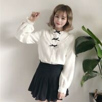 Women's Kawaii Lolita Shirt Blouse Top Japanese Ruffle Bowknot Lace Collar Retro