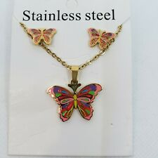 New Butterfly Necklace & Earrings Set Great Gift