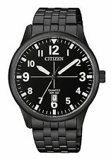 Citizen BI1055-52E Men's Black IP Stainless Steel Black Dial Date Quartz Watch