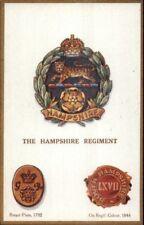 UK British Military Badge Crest Heraldic Postcard HAMPSHIRE REGIMENT