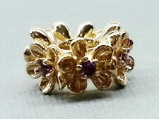 Bd092 - Large Genuine 9ct Solid Gold Natural Amethyst Blossom Garland Bead Charm