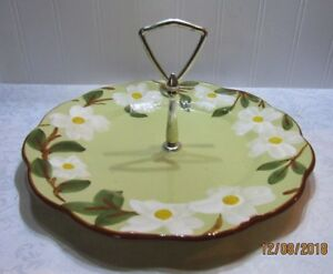 Stangl White Dogwood Tidbit Tray Round Cookie Serving Plate Vintage Pottery Dish