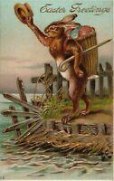 Standing Bunny Rabbit with Egg Basket~Hat & Cane ~Antique Easter Postcard-k760
