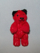 """Old Antique Vtg Ca 1950s Miniature Jointed Schuco Red Teddy Bear 2.75"""" Tall Nice"""
