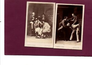 Two CDV's Victorian Photographs Group of Raucous Men Huther of Londonderry C1875