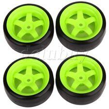 4pcs Plastic Black Tires & Green Wheel Rims for RC 1: 10 Drift Car 65 mm OD