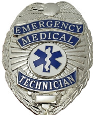 EMT Emergency Medical Technician Metal Badge in Silver Color #4182N