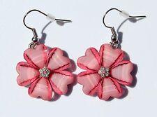 Earring Sparkle Hibiscus Plumeria Heart Flower Dangle Hawaii Luau CZ Light Pink
