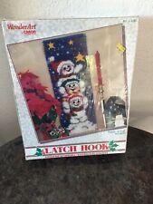 "New listing Wonder-Art Caron Latch Hook Kit # 4560 Jolly Snowmen 36"" x 12"" New Open Box"