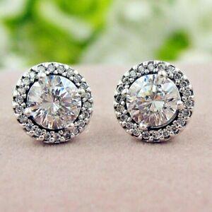 Pandora Genuine Classic Elegance Stud Earrings 296272CZ Silver S925 ALE