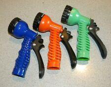 Garden Hose Nozzle Head Water Sprayer Green/Blue/orange 7 Spray Patterns pick 1