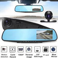 1080P HD LCD Mirror Monitor Dash Cam Dual Lens Car DVR Reverse Rear View Camera