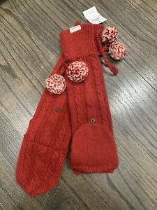 NWT Abercrombie Girls No Size Red Fingerless Knit Mittens New Women small