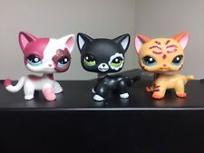 3pcs Littlest Pet Shop LPS  Cats #2249 #2291 #2118 Black Pink Glitter Cats