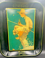 Coca cola Vintage Metal Tray Out Fishing Calendar Art Norman Rockwell Pre-owned