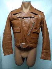 Leather Perfecto jacket Motorcycle Biker Wind Breaker Chestnut Brown Sz S- M