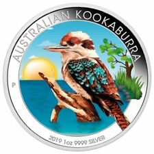 AUSTRALIA 2019 $1 KOOKABURRA 1 Oz SILBER COLOR FARBE AUSGABE NUR 100 BOX COA v2
