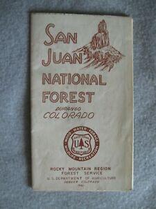 Vintage 1961 San Juan National Forest Durango Colo Rocky Mt. Region USFS Map