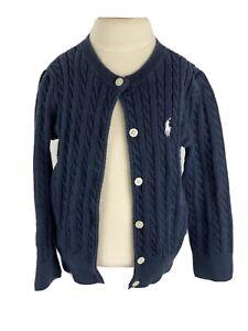 Polo Ralph Lauren Toddler Girls 2T Black Cableknit Cardigan Sweater