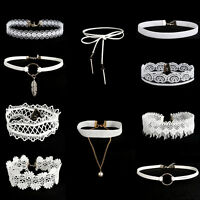 10pcs Flower White Lace Velvet Choker Necklace Chain Collar Punk Jewelry set