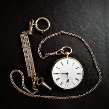 HERREN - TASCHENUHR, Gold, 18 K, Schlüsselaufzug, gute Funktion, ca. 1875