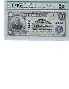 1902 $10 National Bank Note CH4446 FR627 Port Huron, Michigan PMG 58 Ch AU EPQ!!