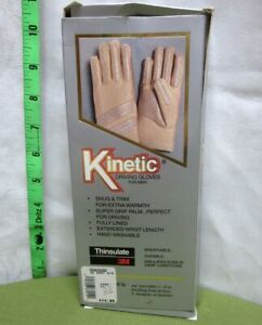 KINETIC DRIVING GLOVES grip palm Men NWT brown Thinsulate 3M fully-lined 1980s