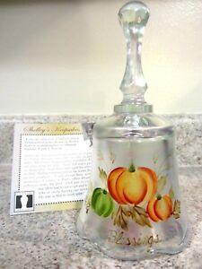QVC Fenton Glass .Handpainted Thanksgiving, Harvest, Halloween Bell, new w/box