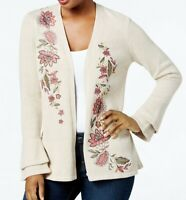 NEW Style & Co Petite Floral Embroidered Bell Sleeve Cardigan Natural PP-PXL $79