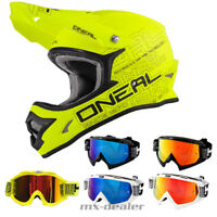 ONeal 3series neon gelb matt Helm Crosshelm MX Motocross Cross HP7 Brille Enduro