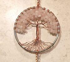 Rose Quartz Gemstone Sun Catcher Bonsai Tree of Life with Crystal Ball,Feng Shui