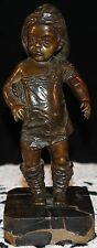 Vintage Genuine Bronze Boy Statue Figurine Fisherman Hat Shirt Boots Marble Base