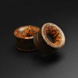Shell Flesh Tunnels Coconut Shell Double Flare Tunnel With Coconut Wood Inlay