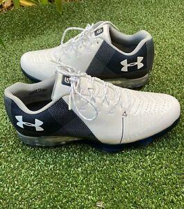 NEW Men's Under Armour UA Spieth 2 Golf Shoes White/Blue 3000165-101 Size 10