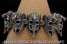 Totenkopf Armband 8 Pharao Skulls massiv Edelstahl Bikerschmuck Herren Geschenk