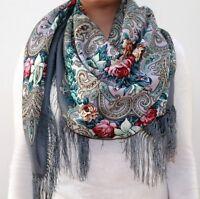Pure WOOL scarf 125x125 cm Winter Warmth  Authentic Russian Pavlovo Posad Shawl