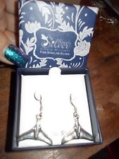 """.925 Sterling Silver Whale Tail Dangling Earrings 1""""x.75"""" not including wire NEW"""