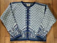 Dale of Norway Casual Collection Blue Fair Isle Wool Sweater Cardigan Jacket M