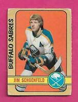 1972-73 OPC # 220 SABRES JIM SCHOENFELD ROOKIE HIGH # GOOD CARD (INV# D1122)