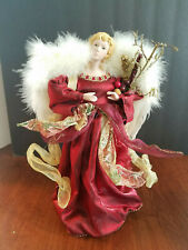 Angel Tree Topper Red Metallic Dress White Feather Wings 12""