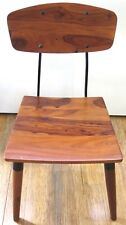 .HEAVY SET / SOLID POLISHED TIMBER / METAL FRAMED INDUSTRIAL STYLE CHAIRS.